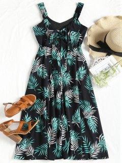 Leaves Print Cut Out Sleeveless Dress - Black Xl