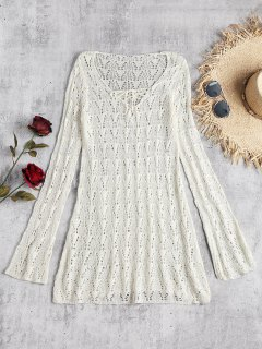 Lace-up Long Sleeve Crochet Dress - Off-white
