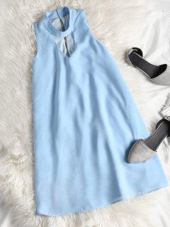 Sleeveless Cut Out Choker Shift Dress - Azure L