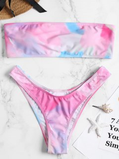 Strapless Tie Dye High Cut Bikini Set - L