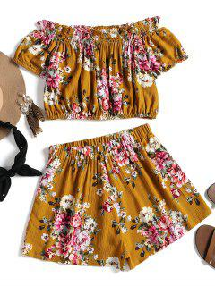 Crinkly Floral Crop Top And Shorts Set - Ginger S