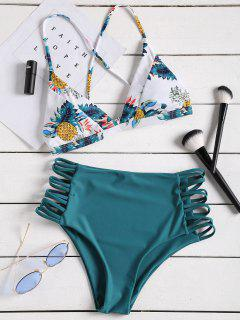 Tropical Printed Strappy High Waisted Bikini Set - Peacock Blue L