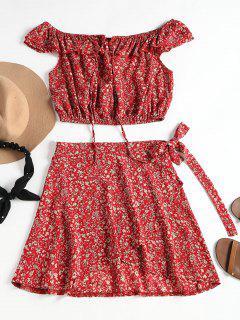 Top Floral Et Jupe Enveloppante - Rouge S