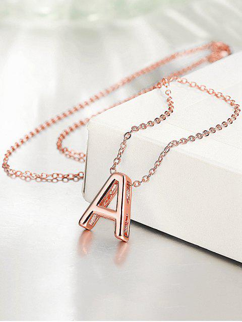 womens Minimalist Letter A Plated Pendant Necklace - ROSE GOLD  Mobile
