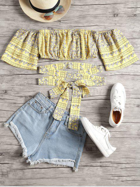 Blusa floral fuera de hombros con cinturón - Amarillo L Mobile