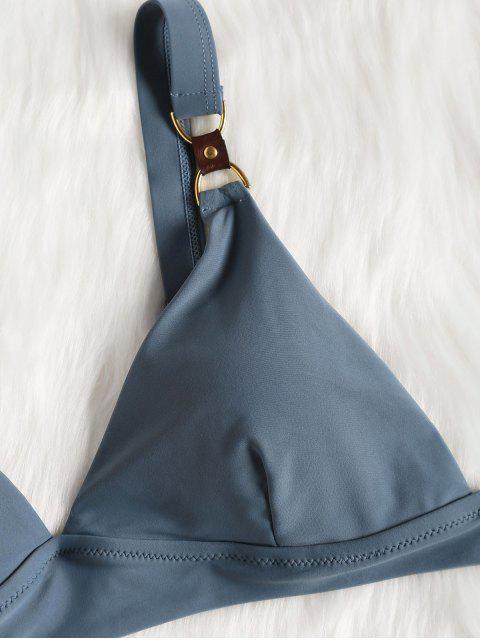 Conjunto de Bikini de corte alto con anillo en D - Gris Azulado S Mobile
