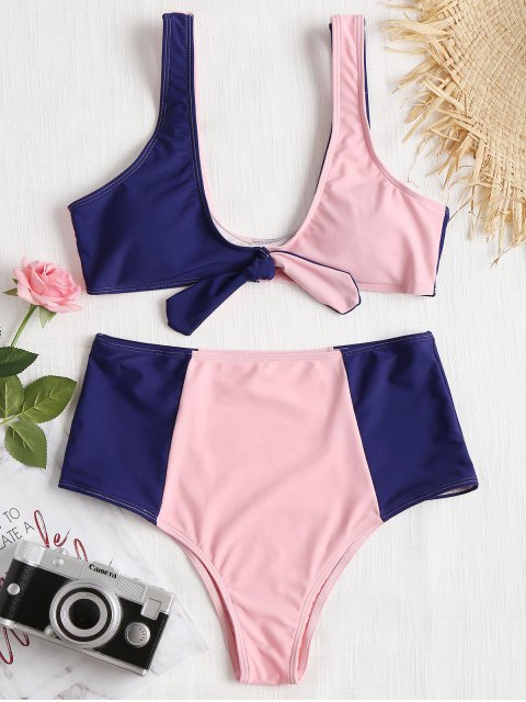 Farbblock hoch taillierte Bikini-Set - Pink + Blau M Mobile