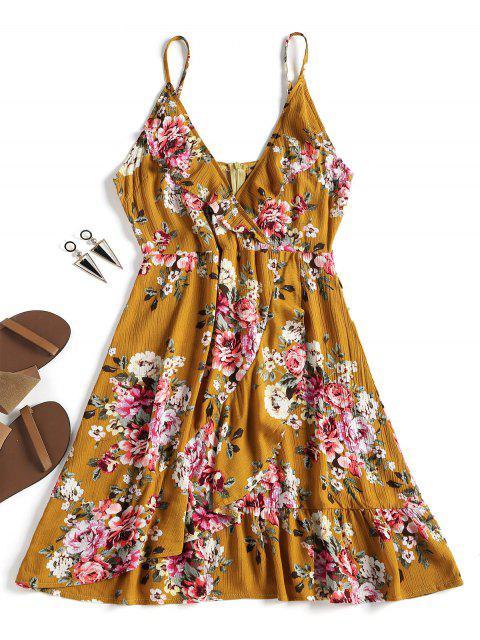 Blumen Rüschen Reißverschluss  Kleid - Ingwer-Gelb S Mobile
