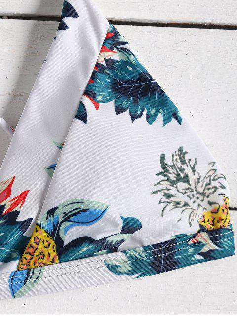 hot Tropical Printed Strappy High Waisted Bikini Set - PEACOCK BLUE S Mobile