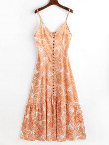 فستان كشكش طباعة الأوراق زر ماكسي - اصفر برتقالي L