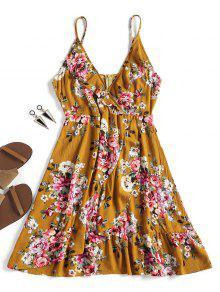 فستان من الكشكشة الأزهار - زنجبيل S