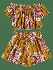 Corto Jengibre Rizado Pantal L Floral Y 243;n Corto Conjunto RwCdqzR