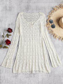 فستان بأكمام طويلة وأربطة مزين بالكروشيه - أبيض فاتح