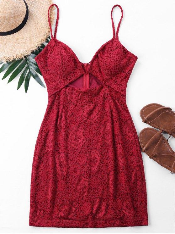 Mini vestido de encaje con tirantes de espagueti - Rojo XL