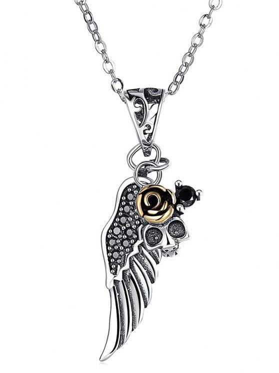 Überzogene Rose Flügel Skull Silber Halskette - Silber