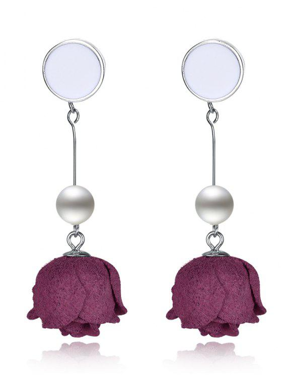 outfits Artificial Pearl Floral Sterling Silver Earrings - SILVER AND RED