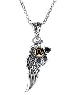 Plated Rose Wing Skull Silver Pendant Necklace - Silver