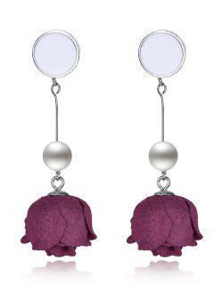 Perla Artificial Floral Pendientes De Plata Esterlina - Plateado+rojo