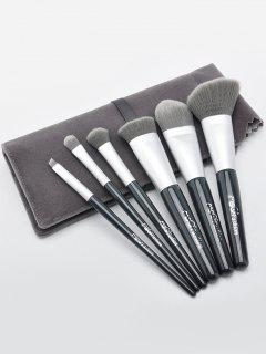 Set De Pinceles De Maquillaje 6Pcs Con Bolsa De Pincel - Gris