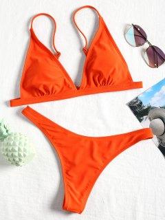 Bikini Con Tanga Acolchada - Naranja Fluorescente M