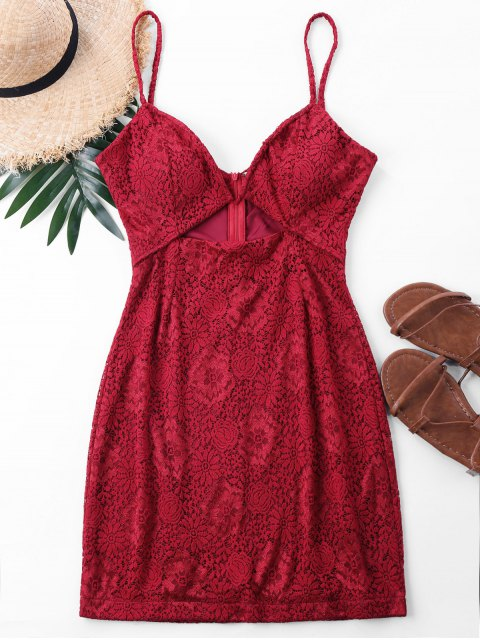 trendy Mini Lace Spaghetti Strap Dress - RED L Mobile