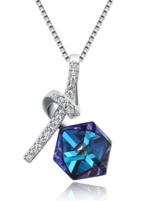 Künstliche Kristall Strass Geometrische Schlüsselbein Halskette - Blau  Mobile