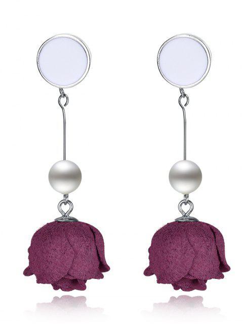 Boucles d'oreilles en argent sterling à fleurs perlées artificielles - Argent et Rouge  Mobile
