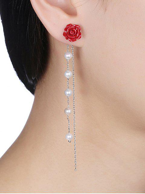 shop Long Chain Rose Faux Pearl Silver Drop Earrings - SILVER AND RED  Mobile