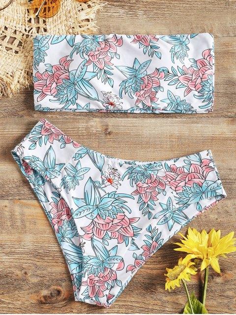 fashion High Cut Floral Bandeau Bikini Set - WHITE L Mobile