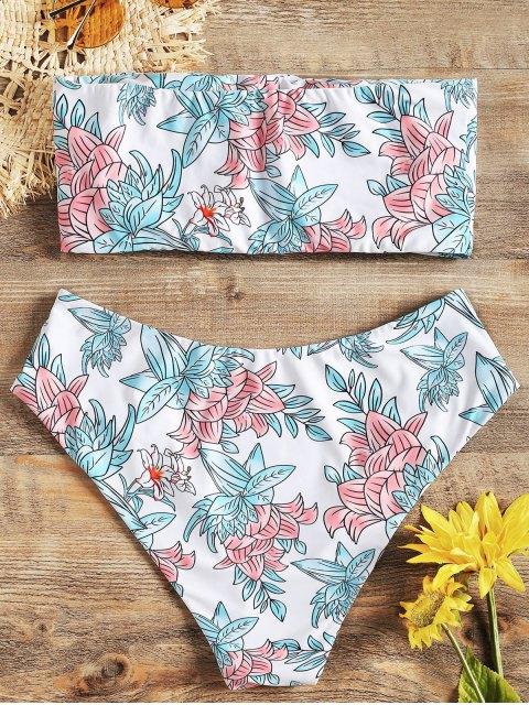Bikini bandeau floral de corte alto de ZAFUL - Blanco M Mobile
