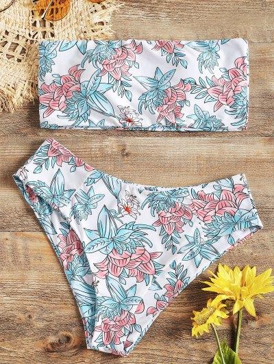 High Cut Floral Bandeau Bikini Set - White M