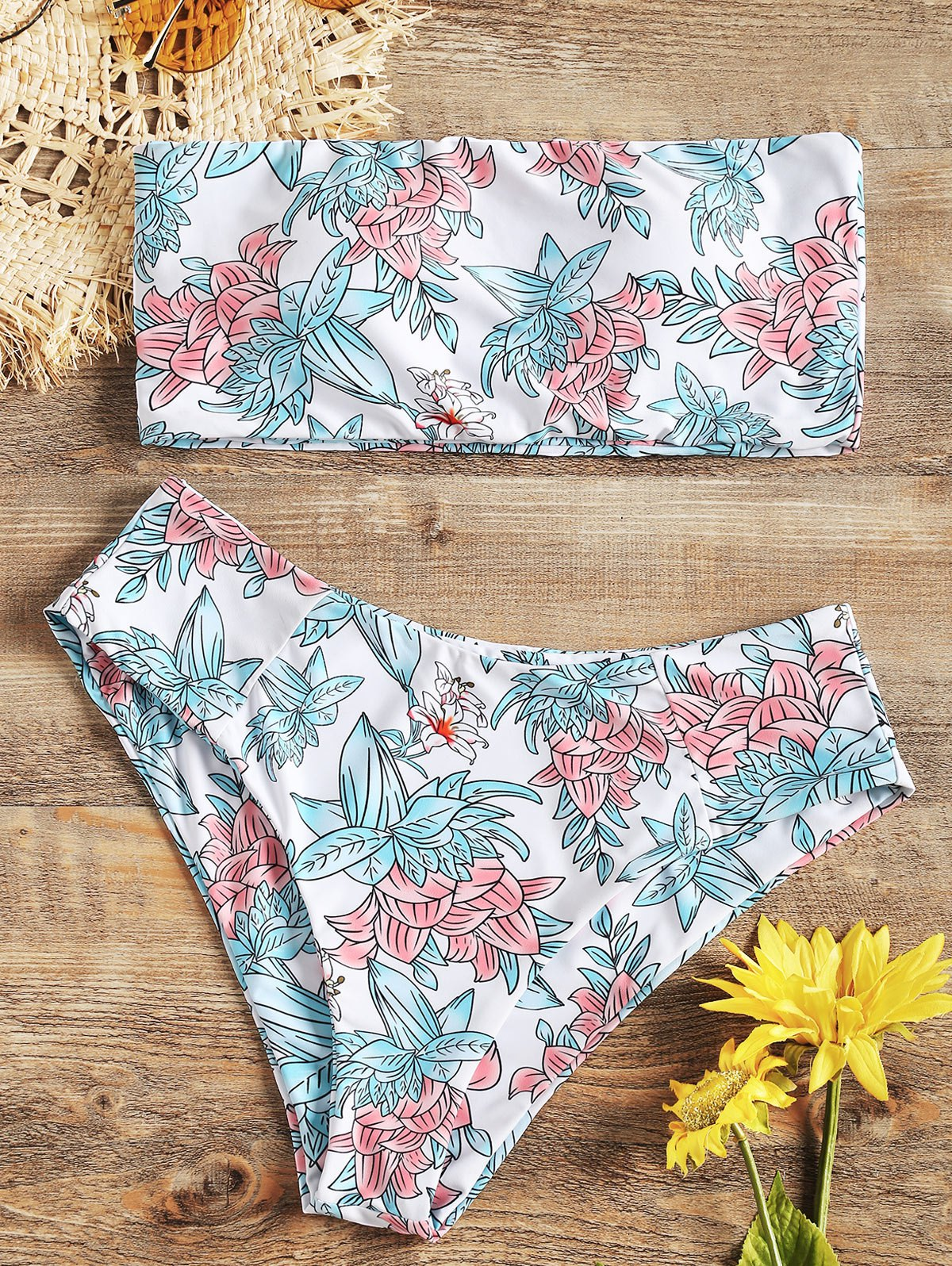 High Cut Floral Bandeau Bikini Set