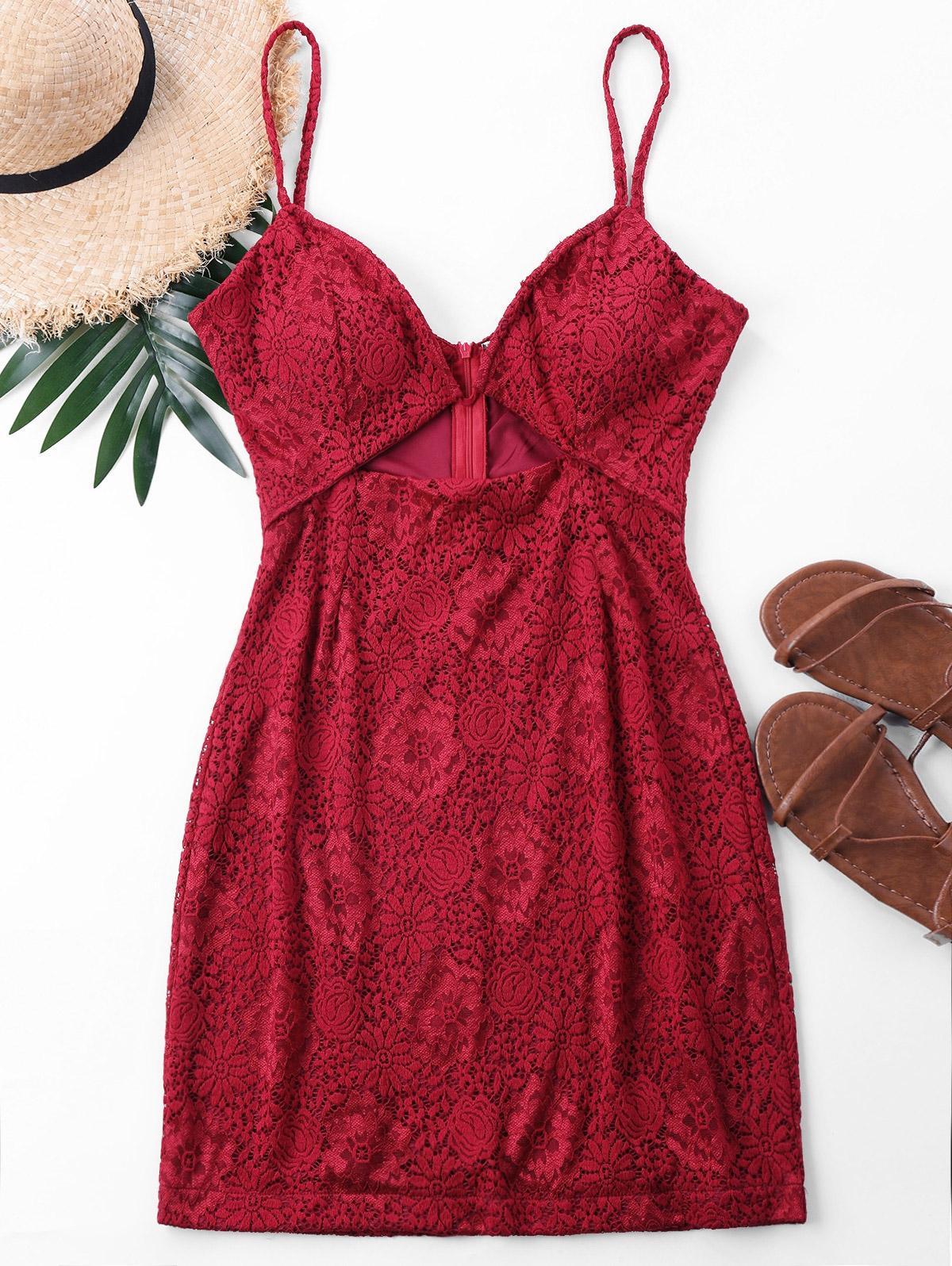 Mini Lace Spaghetti Strap Dress 252070302