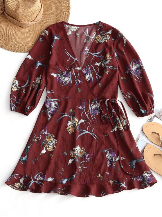 shop Floral Print Mini Wrap Tie Dress - WINE RED M