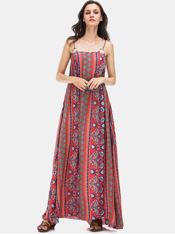فستان طوبل طباع الزهور - أحمر M