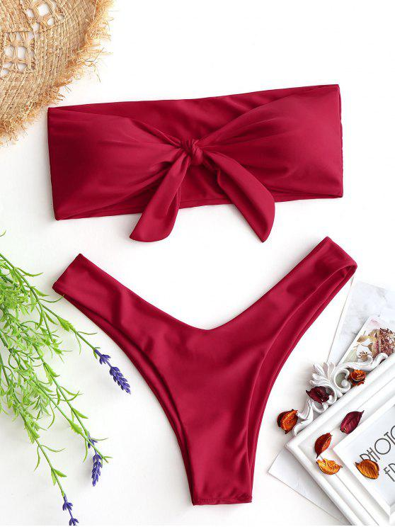 Bow Tied Bandeau Swim Bra With High Cut Bottoms RED