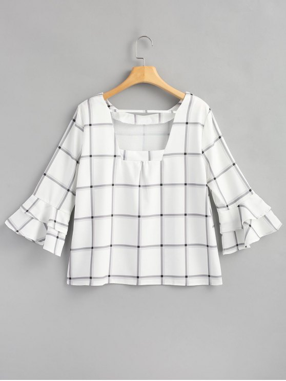 online Ruffled Sleeve Tartan Top - WHITE L