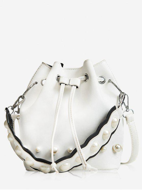 fashion String Casual Bucket Bag - WHITE