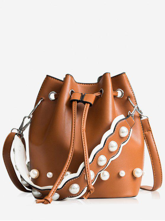 chic String Casual Bucket Bag - BROWN