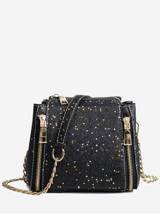 unique Shimmering Chain Crossbody Bag - BLACK