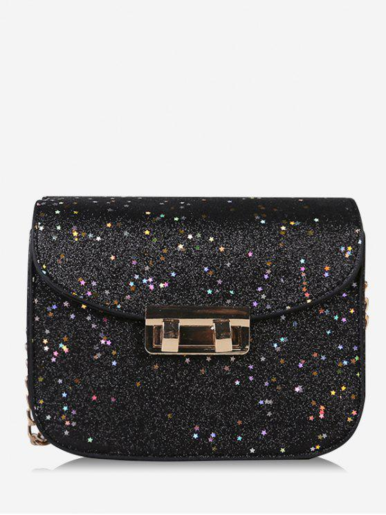 affordable Chain Chic Sequins Crossbody Bag - BLACK