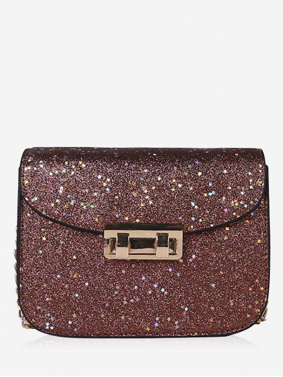 buy Chain Chic Sequins Crossbody Bag - BROWN