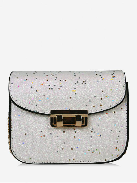 womens Chain Chic Sequins Crossbody Bag - WHITE