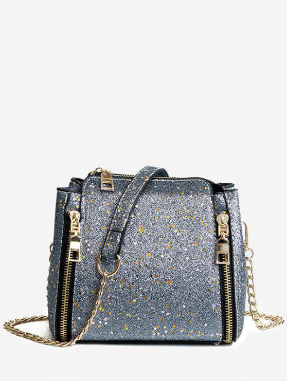 chic Shimmering Chain Crossbody Bag - SILVER