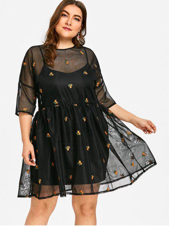 f4186e50b34 29% OFF  2019 Floral Embroidered Plus Size Mesh Smock Dress In BLACK ...