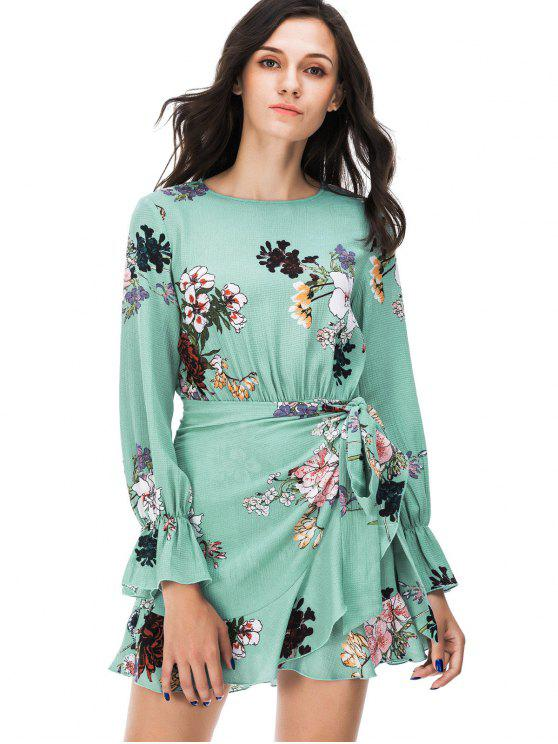 hot Floral Print Long Sleeve Mini Dress - GREEN M