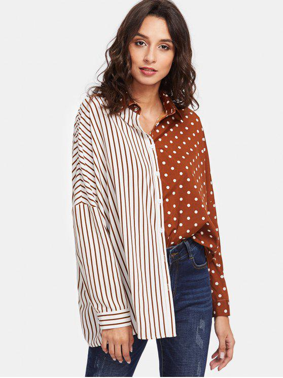 chic Dot Stripe Contrast Print Oversized Shirt - BROWN AND WHITE M