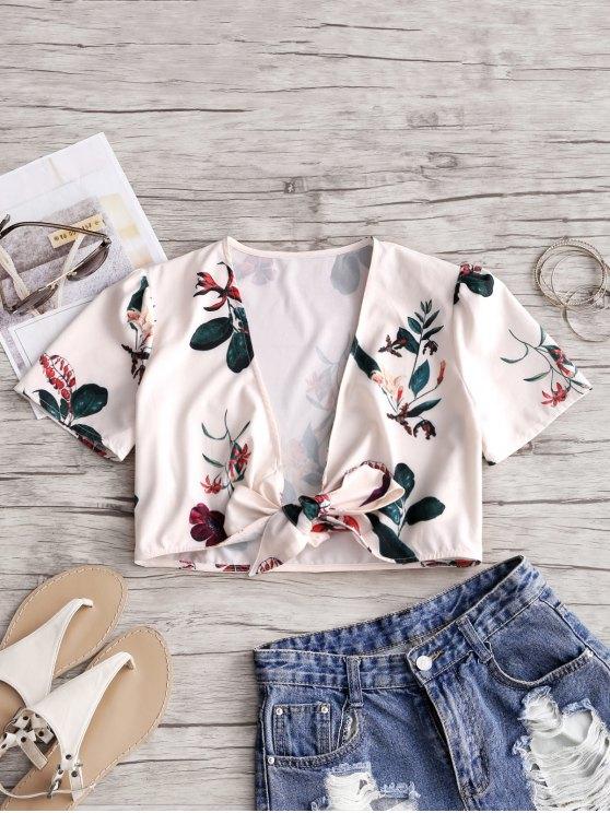 latest Floral Print Tie Front Crop Top - BEIGE M