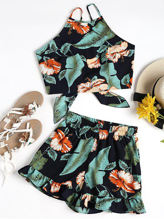 fancy Floral Cami Crop Top with Shorts Set - BLACK AND GREEN S
