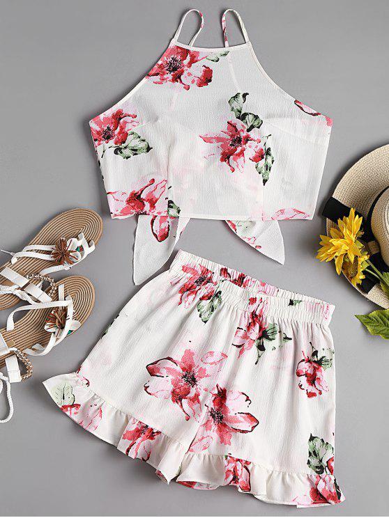 Top corto floral con pantalón corto de Cami - Blanco S